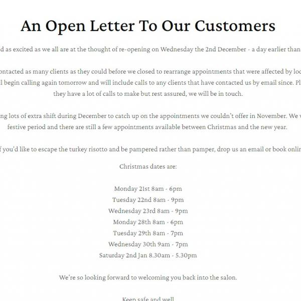 Open Letter To Our Customers
